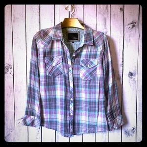 RAILS | purple kendra gauze plaid button down